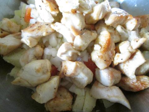 Adding the Sauteed Chicken
