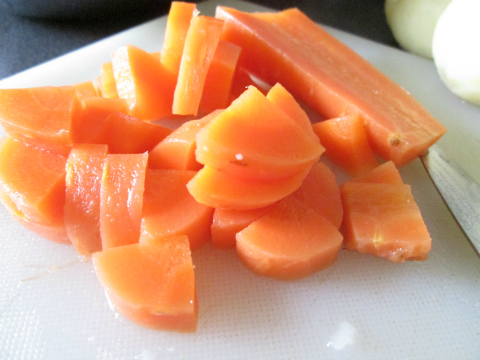 Slicing the Boiled Carrots