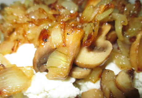 Mushrooms Onions and Feta Cheese