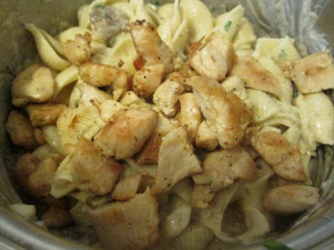 Adding Chicken to Pasta and Mushrooms