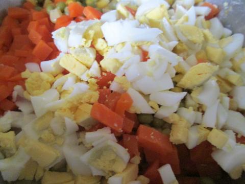Adding Chopped Eggs
