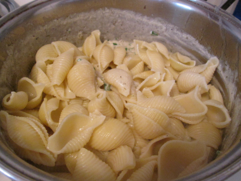 Adding Pasta to Mushrooms and Onions