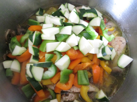 Adding Peppers and Zucchini