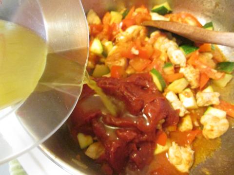 Adding the Chicken Broth