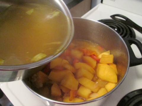 Adding the Chicken Broth
