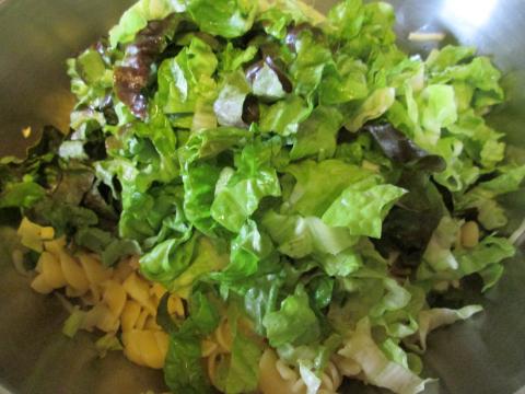 Adding the Chopped Lettuce