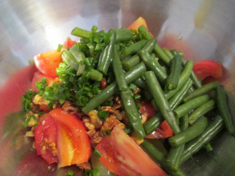 Adding the Steamed Beans and Onion Greens