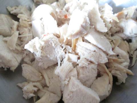 Chopping the Baked Chicken