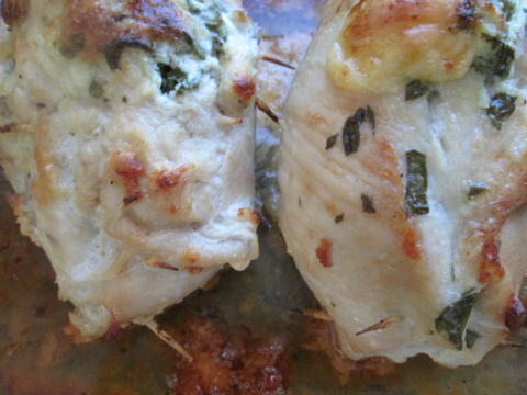 Close-up Spinach Stuffed Chicken Rolls