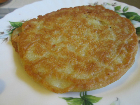 Getting Potato Pancake Ready for Chicken Stew