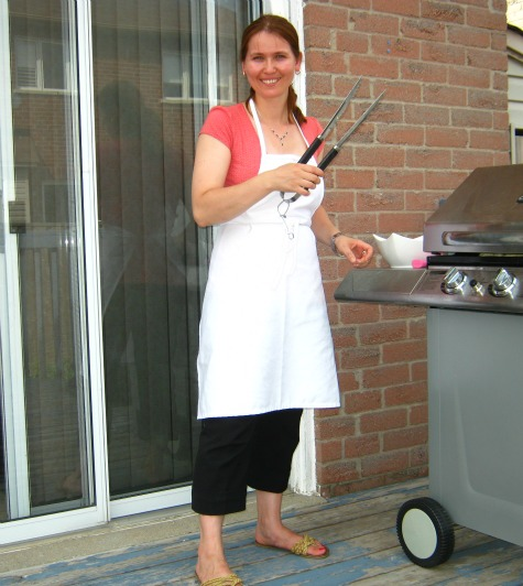 Monika making barbecue chicken wings