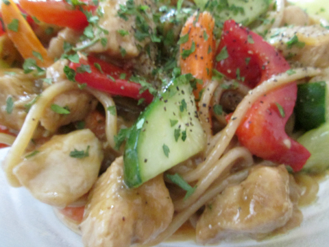 Saucy and Spicy Chicken Peanut Pasta