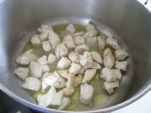 Sauteing the Chicken Cubes