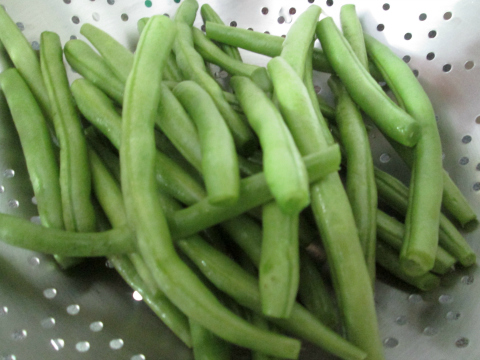 Trimmed Beans Ready for Steaming