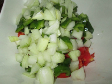 Cubed onion and salad