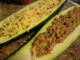 stuffed zucchini with chicken and cheese