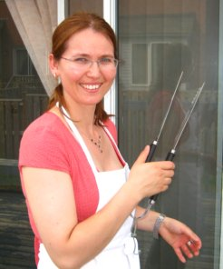 Monika with tongs
