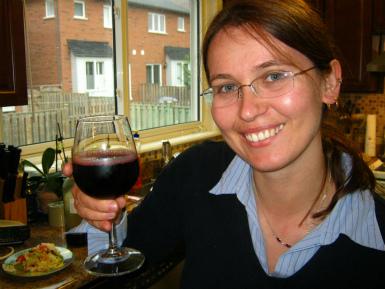Monika Fraczek with red wine